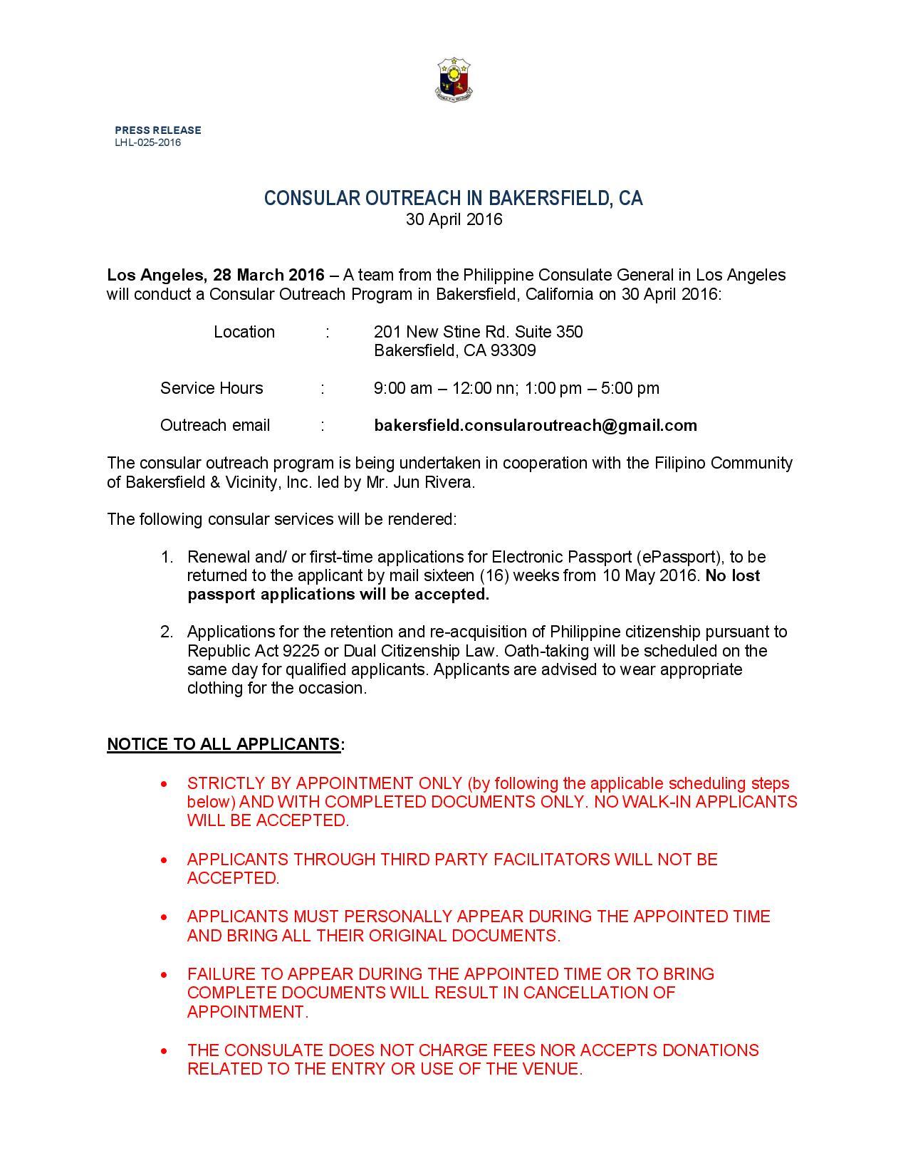 Consular Outreach in Bakersfield, CA – Philippine Consulate