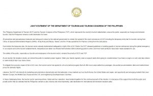 Joint Statement of the Department of Tourism and Congress of the Philippines
